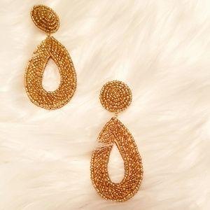 2 Chic gold teardrop beaded earrings